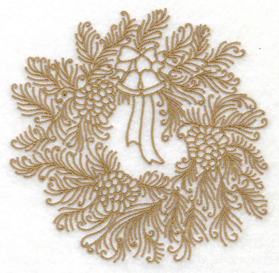 Embroidery Design: Wreath with bells and bows large 4.95w X 4.87h