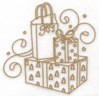 Embroidery Design: Gift boxes bags stars and swirls large 4.93w X 4.93h