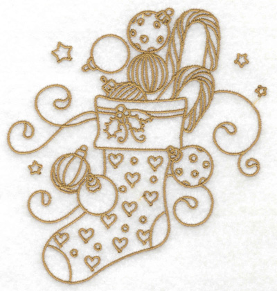 Embroidery Design: Christmas stocking stars and swirls large 4.62w X 4.98h