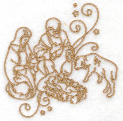 Embroidery Design: Nativity scene stars and swirls small 3.79w x 3.85h