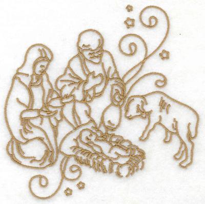 Embroidery Design: Nativity scene stars and swirls large 4.85w X 4.93h