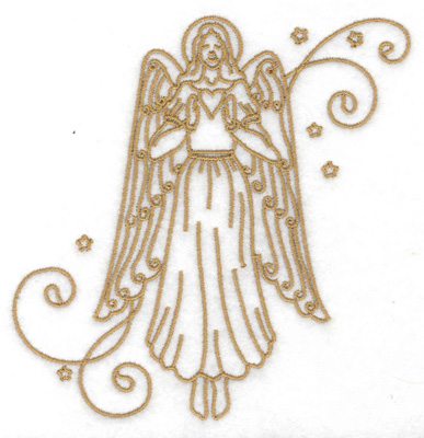 Embroidery Design: Angel stars swirls large 4.87w X 4.96h