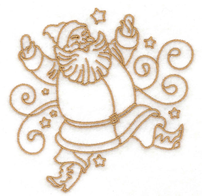 Embroidery Design: Santa with swirls and stars small 3.77w X 3.85h
