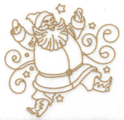 Embroidery Design: Santa with swirls and stars large 4.83w X 4.92h