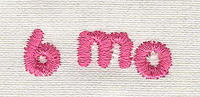 Embroidery Design: Text 6 mo 4.54w X 1.25h