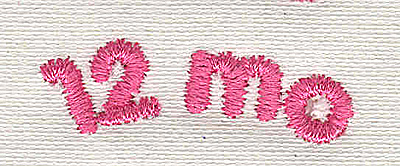 Embroidery Design: Text 12 mo 4.56w X 1.41h
