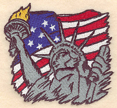 "Embroidery Design: American Flag with Statue of Liberty 3.79""w X 3.47""h"