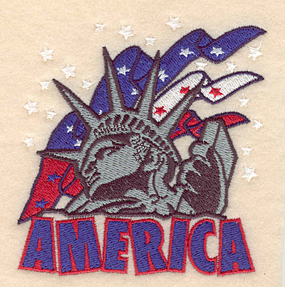 "Embroidery Design: America Statue of Liberty with banners 3.62""w X 3.86""h"