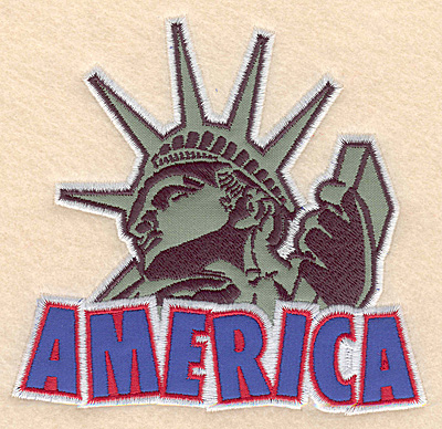 "Embroidery Design: America Statue of Liberty double applique 5.00""w X 4.72""h"