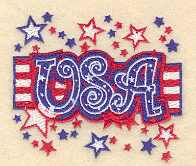 "Embroidery Design: USA flag and stars 3.90""w X 3.33""h"