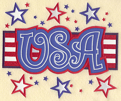 "Embroidery Design: USA flag and stars full back appliques 8.89""w X 7.40""h"