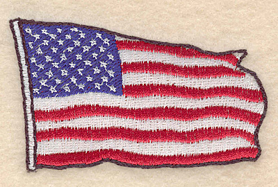 "Embroidery Design: American flag small 3.03""w X 1.87""h"