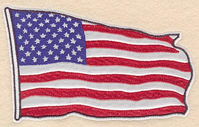 "Embroidery Design: American flag medium Applique 7.00""w X 4.32""h"