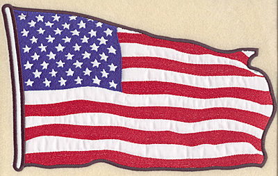"Embroidery Design: American flag full back appliques 11.71""w X 7.11""h"