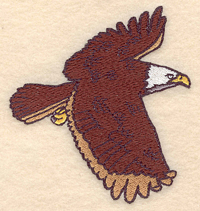 "Embroidery Design: American bald eagle with wings spread 3.64""w X 3.94""h"
