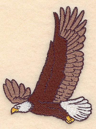 "Embroidery Design: American bald eagle in flight 3.00""w X 3.90""h"