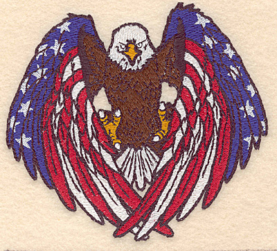 "Embroidery Design: American bald eagle / flag 5.45""w X 4.94""h"