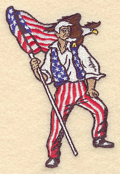 "Embroidery Design: Uncle Sam with flag and eagle 3.05""w X 4.97""h"