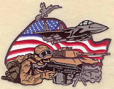 "Embroidery Design: Military Pride double applique 6.53""w X 5.00""h"