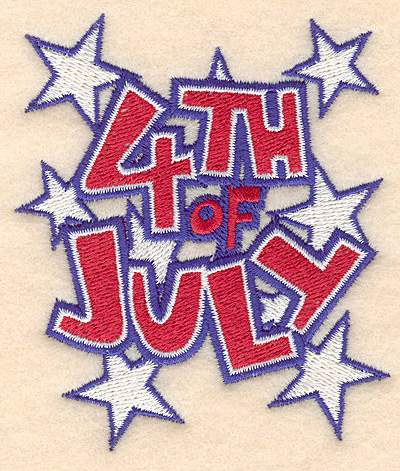 "Embroidery Design: 4th of July 3.22""w X 3.77""h"