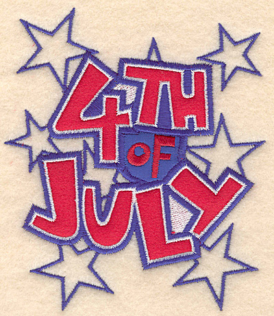 "Embroidery Design: 4th of July large double applique 4.30""w X 5.00""h"