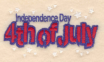 "Embroidery Design: Independence Day small 3.87""w X 2.20""h"
