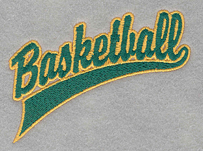 Embroidery Design: Basketball script3.78w X 2.73h