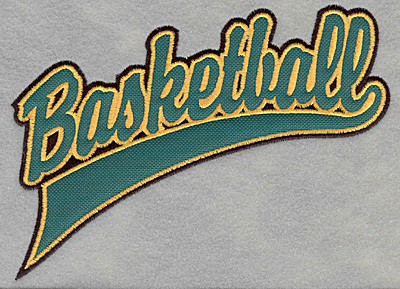 Embroidery Design: Basketball script applique6.76w X 5.00h