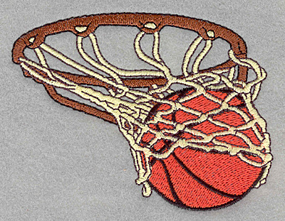 Embroidery Design: Basketball in hoop3.90w x 3.02h
