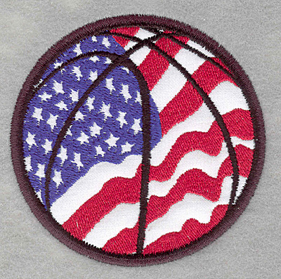 Embroidery Design: Americana basketball3.30w X 3.25