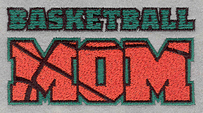 Embroidery Design: Basketball mom3.90w X 2.04h