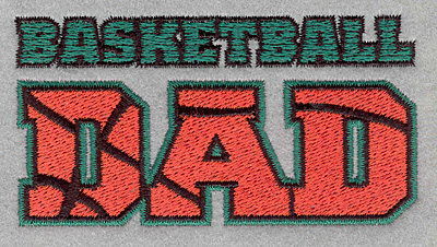 Embroidery Design: Basketball dad3.90w X 2.05h