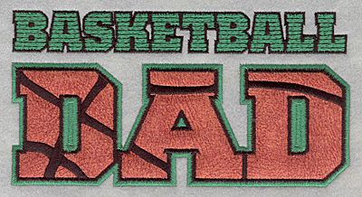 Embroidery Design: Basketball dad applique6.50w X 3.38h