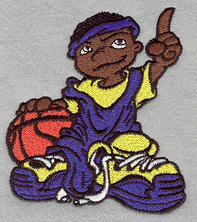 Embroidery Design: Basketball dude3.40w X 3.90h