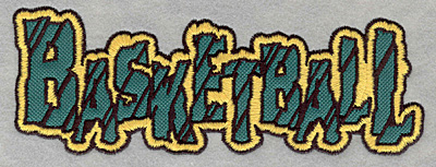 Embroidery Design: Basketball text applique7.00w X 2.53h