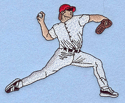 "Embroidery Design: Baseball pitcher 3.83""w X 3.09""h"