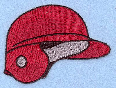 "Embroidery Design: Baseball helmet red 3.46""w X 2.56""h"