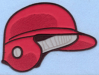 "Embroidery Design: Baseball helmet red large double applique 6.73""w X 5.00"""