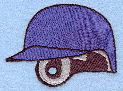 "Embroidery Design: Baseball helmet blue 3.42""w X 2.56""h"