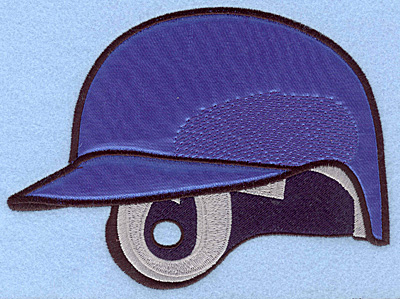 "Embroidery Design: Baseball helmet blue large applique 6.75""w X 5.00""h"