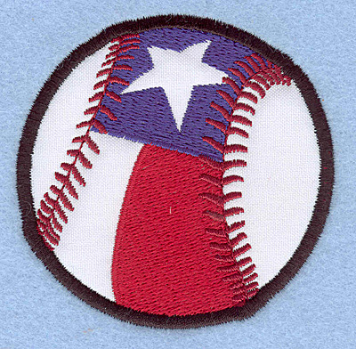 "Embroidery Design: Baseball star and stripe small applique 2.99""w X 2.97""h"