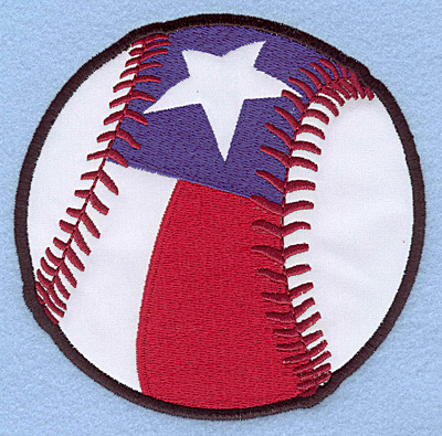 "Embroidery Design: Baseball star and stripe large applique 4.93""w X 4.90""h"