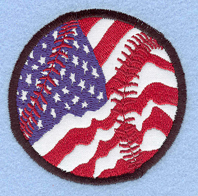 "Embroidery Design: Baseball American flag small applique 2.99""w X 2.97""h"