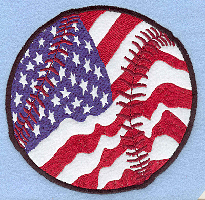 "Embroidery Design: Baseball American flag large applique 4.93""w X 4.90""h"