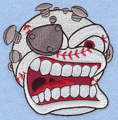 "Embroidery Design: Baseball angry 3.60""w X 3.80""h"