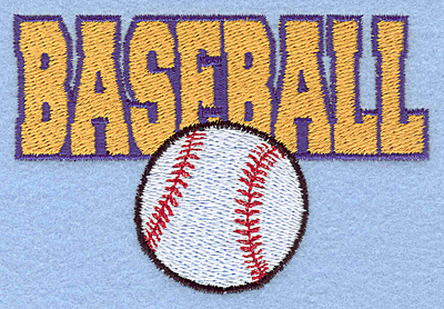 """Embroidery Design: Baseball text with ball small 3.83""""w X 2.58""""h"""