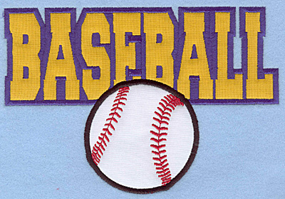 "Embroidery Design: Baseball text with ball large double applique 7.00""w X 4.78""h"