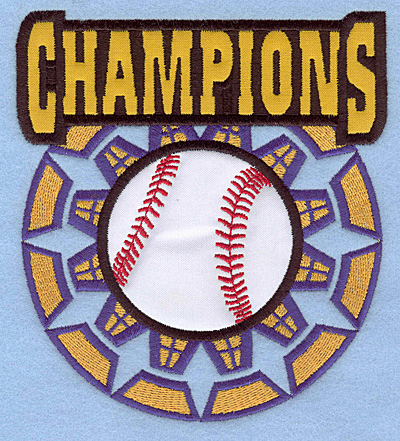 "Embroidery Design: Champions large double applique 4.99""w X 5.54""h"