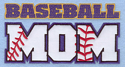 "Embroidery Design: Baseball mom large applique 6.50""w X 3.44""h"