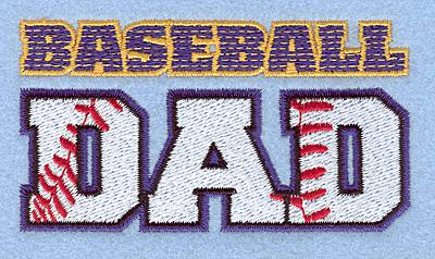 "Embroidery Design: Baseball dad 3.90""w X 2.09""h"